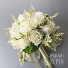Bridal-Bouquets Flowers Wedding Bridesmaid White Off for Handmade Women Arrival