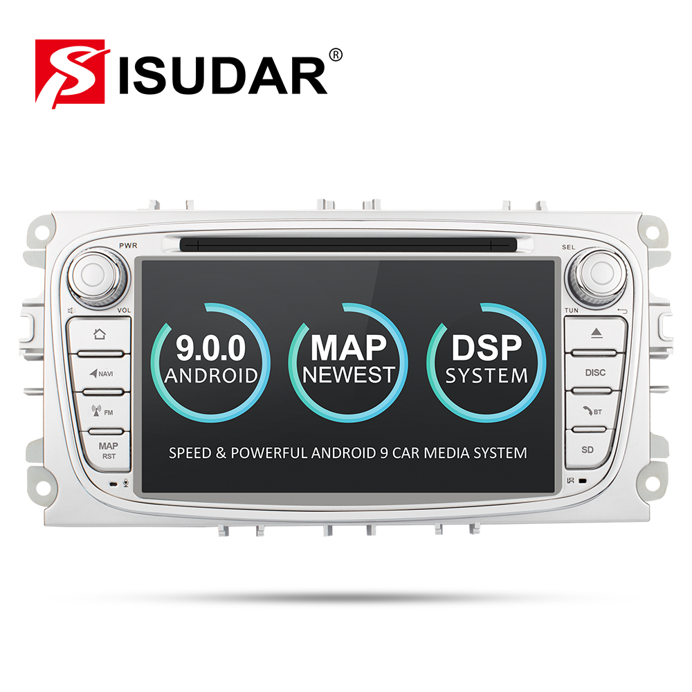 Isudar 9 2 Din Rádio Do Carro Android Para FORD/Focus/S-MAX/Mondeo/C-MAX/Carro Galáxia multimedia DVD Player GPS DVR USB WIFI FM/AM