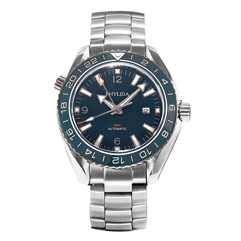 Men's Blue 43.5mm GMT Dual-Time Automatic Watch Sea Ocean Homage Sapphire Crystal Blue Ceramic Bezel Insert