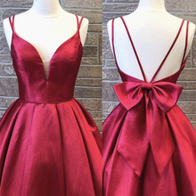 Homecoming-Dresses Short Party-Gowns Satin Vestido-De-Fiesta Red Bow Above-Knee Big-Bow