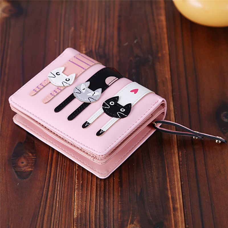 PU Leather Bifold Photo Coin Card Holders Ladies Functional Clutch Purse Lovely Cartoon Cute Cat Short Wallet Women