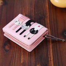 Pu Leather Bifold Foto Coin Card Houders Dames Functionele Clutch Portemonnee Mooie Cartoon Leuke Kat Korte Portemonnee Vrouwen(China)