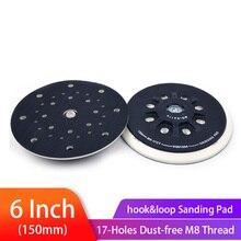 Almohadilla de lija trasera M8 de 6 pulgadas y 150mm, varias orificios para disco de lijado de gancho y bucle, almohadillas de molienda sin polvo, almohadilla para lijadora Festool