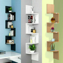 5-layer Corner Wall Magazine Rack Bookshelf Organizer Insert Magazine Holder Wall-mounted Wood Hanging Office Bookcase Shelves