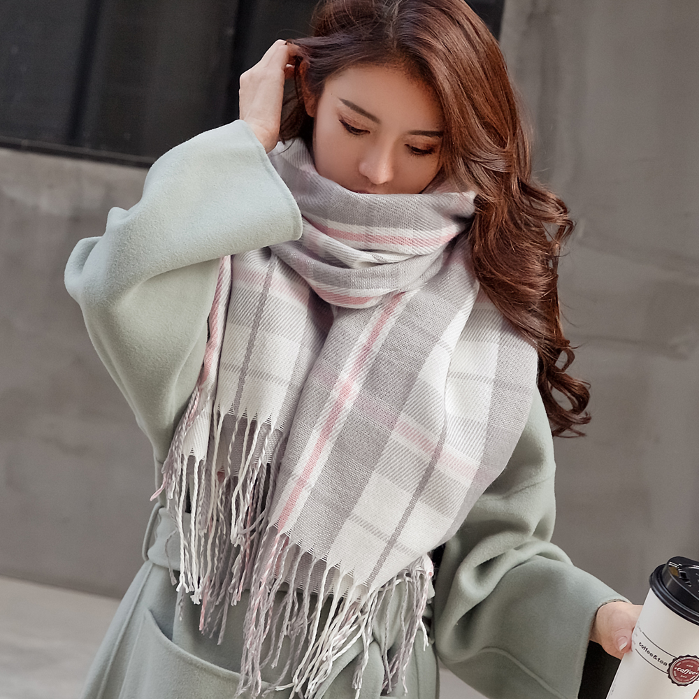 VEITHDIA 2020 Autumn Winter Female Wool Plaid   Scarf   Women Cashmere   Scarves   Wide Lattices Long Shawl   Wrap   Blanket Warm Tippet