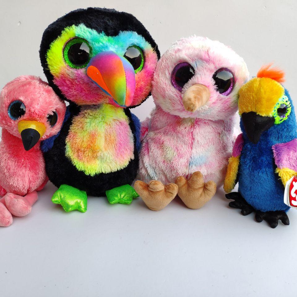 Bird Plush Toys Stuffed Animals Wynnie Parrot Gilda Flamingo Kiwi Bird Beaks Toucan Kenya Henna Ostrich Gilda Flamingo