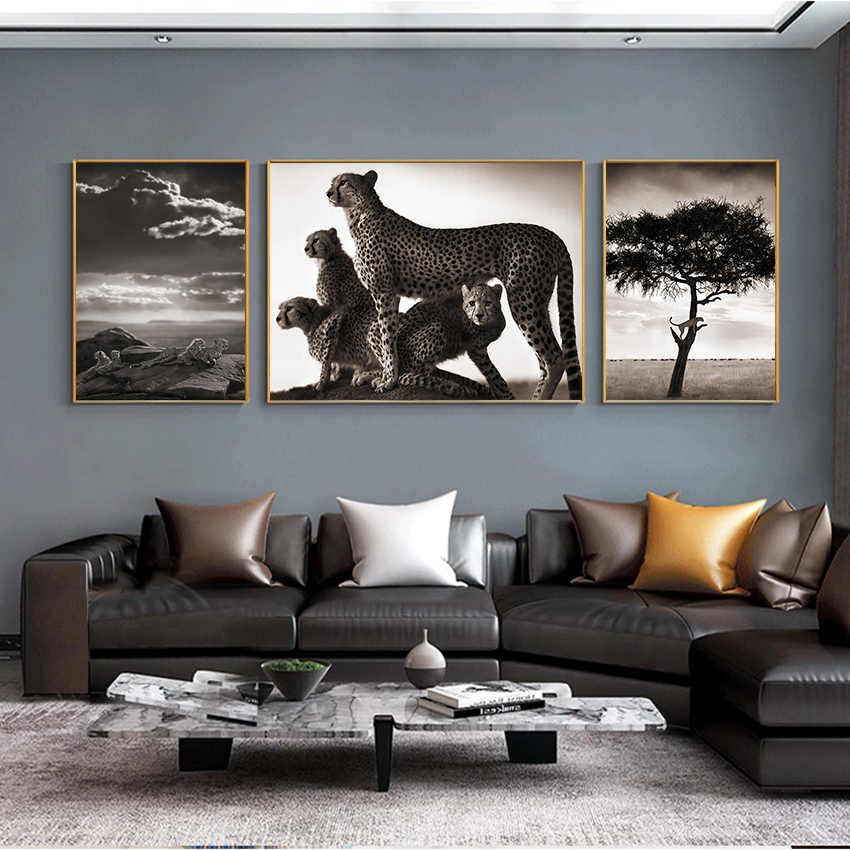 Africano Animale Del Leopardo di Tela di canapa di Arte Poster e Stampe Moderna in Bianco e Nero Immagine della Parete Della Pittura per Soggiorno Cornice di Arte decor