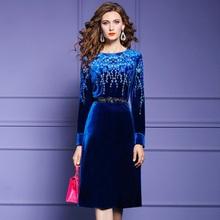New fashion 2021 aksamitna haftowana sukienka damska z krótkim rękawem jesienno-zimowa O-neck nadruk na kolanach długa jednokolorowa klasyczna spódnica tanie tanio PL (pochodzenie) Jesień Poliester spandex A-LINE Osób w wieku 18-35 lat FMY23551082 Pełna REGULAR embroidery vintage