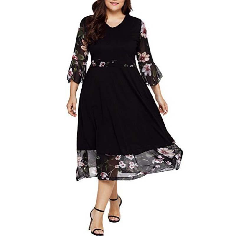 2019 5XL Big Size Dress Spring Casual Plus Size Floral Print Dresses Women Large Size Clothing Elegant Black Long Party Vestidos