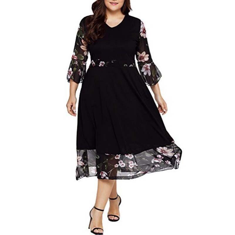 Весеннее Повседневное платье большого размера плюс размера 2020 5XL, Платья с цветочным принтом, женская одежда большого размера, элегантные черные длинные вечерние платья|Платья|   | АлиЭкспресс