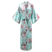 Большие размеры, повседневный мягкий женский халат-кимоно, домашняя одежда, Элегантная ночная рубашка с цветочным принтом, удобные атласные банные платья 3XL