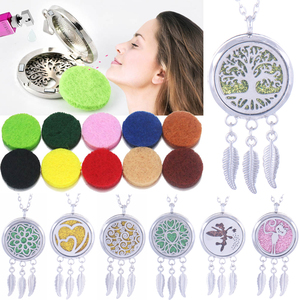 Tree of Life essential Oils Aromatherapy lockets Feather tassel Aroma Diffuser locket Perfume Pendant Necklace women jewelry(China)
