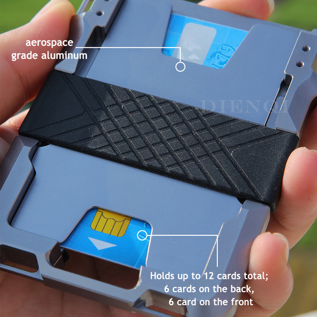 DIENQI Rfid Metal Credit Card Holder Men Tactical lanyards id badge holder Credential Cardholder Case Smart Minimalist Wallet 5