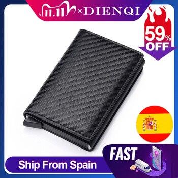 DIENQI Carbon Fiber RFID Blocking Men's Credit Card Holder Leather Bank Wallet Case Cardholder Protection Purse For Women - discount item  56% OFF Wallets & Holders