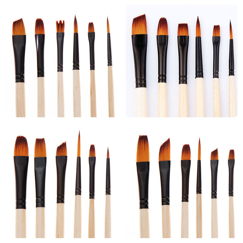 6Pcs Nylon Paint Brush Set Professional Pointed Head Painting Brush Multifunction Watercolor Brush Pen For Student Art Supplies