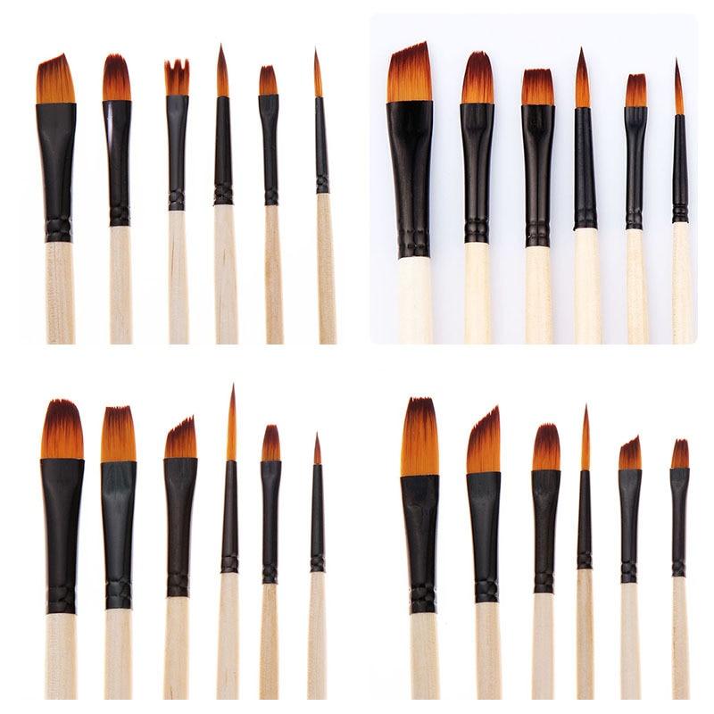 6Pcs Nylon Paint Brush Set Professional Pointed Head Painting Brush Multifunction Watercolor Brush Pen For Student Art Supplies