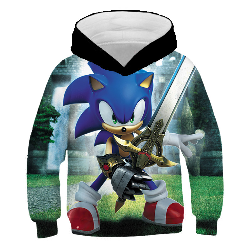 Sonic 3D New Fashion Pullover Hoodies Casual Long Sleeve Sweatshirt 3D Boys/girls Clothes Parent-child Thin Style Cartoon Coat