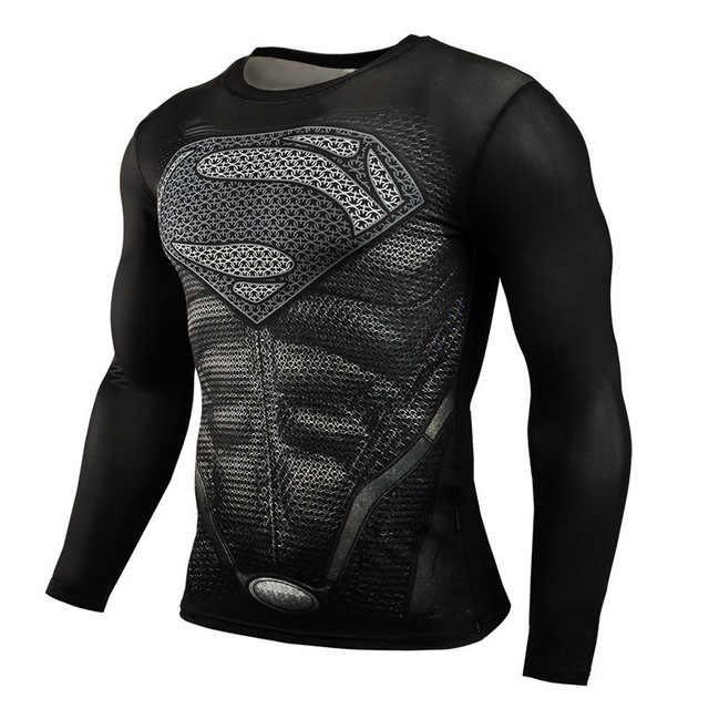 جديد 2019 سوبرمان المعاقب Rashgard تشغيل قميص الرجال تي شيرت طويلة الأكمام ضغط قمصان رياضة تي شيرت اللياقة البدنية قميص رياضي جديد