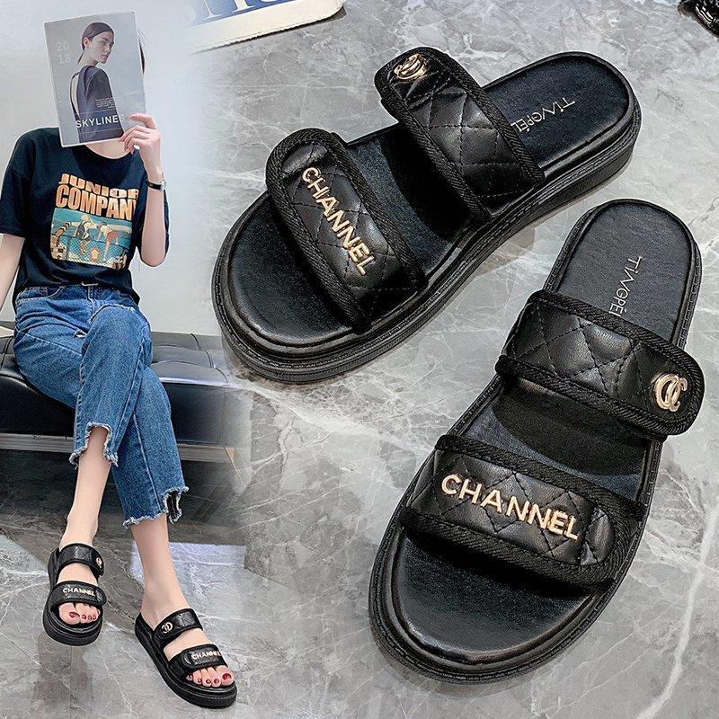 Outdoor Designer Woman Pu Casual Latest Fashion Slides Women Luxury Brand Vacation Beach Slippers Casual Flip Flops Women Shoes Slippers  - AliExpress