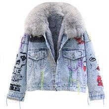 Winter Mode Frauen Warme Mantel Natürliche Fuchs Pelz Kragen + Echt Kaninchen Haar Liner Denim Jacke Weibliche Verdicken Lose Fell outwear