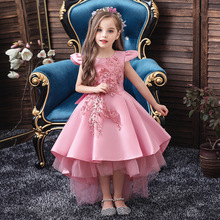 Pink Girls Dresses For Wedding Tulle Lace Long Girl Dress Party Christmas Dress Children Princess Costume For Kids New 2020