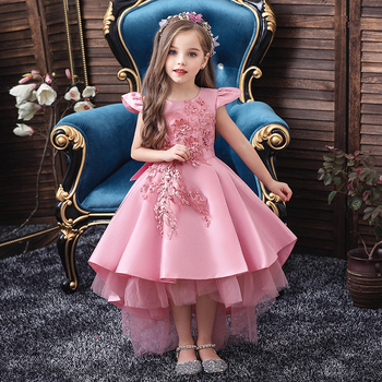 Pink Girls Dresses For Wedding Tulle Lace Long Girl Dress Party Christmas Dress Children Princess Costume For Kids New 2020 pink girls shoulderless wedding dress long trailing party tulle princess birthday dress christmas gown first communion dresses