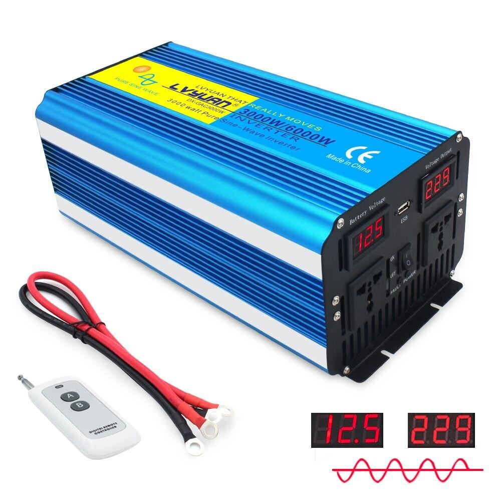 6000 Вт инвертор синусоидальной волны, трансформатор постоянного тока 12 В/24 В в переменный ток 220 В/230 В/240 В с двойным светодиодным дисплеем А, б...