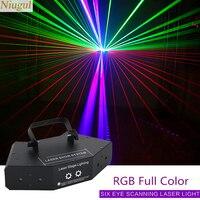6 Ogen Rgb Full Color Scanner Projector/DMX512 Lineaire Beam Effect Scan Laser Lichtshow/Waaiervormige 6 Lens Stage Laser Verlichting