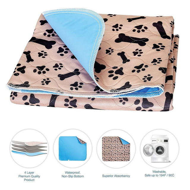 Dropship Dog Bed Mats Reusable Soft Flannel Fleece Paw Dog Urine Pad Puppy Pee Fast Absorbing Pad Rug For Dogs Cats Stock in US 3