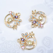 2PCS 14x16MM 24K Gold Color Plated Brass with Colorful Zircon Peacock Charms Pendants High Quality Jewelry Accessories(China)
