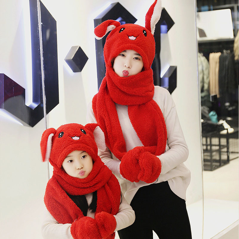 3 in 1 Scarf Hat Glovest Funny Air Float Filling Ear Moving Cap Cartoon Plush Stuffed Toys Gifts for children and adult