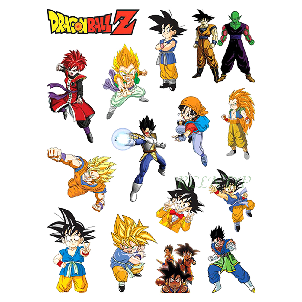 Waterproof Temporary Tattoo Sticker Dragon Ball Cartoon Anime Tatto Stickers Flash Tatoo Fake Tattoo For Kids Men Women Girl