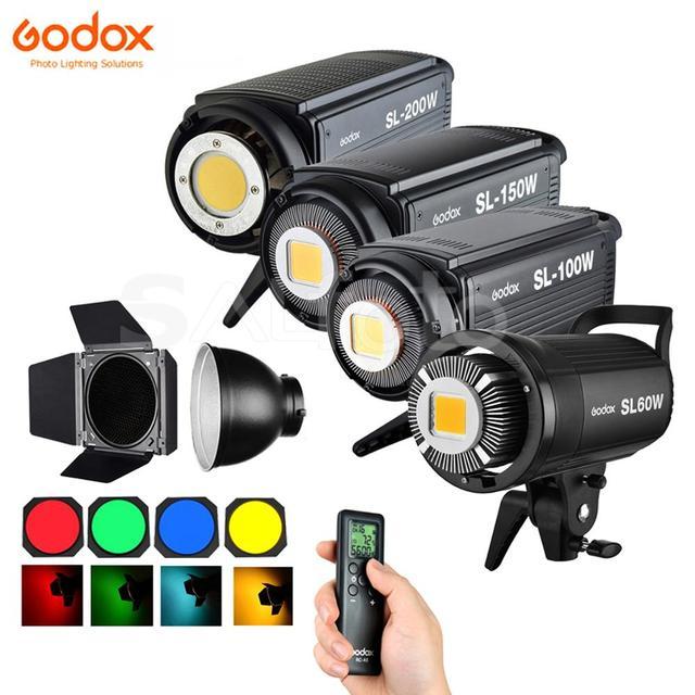 Godox SL60W SL100W SL150W SL200W LED Video Continuous Light +Barn Door Grid Filter 5600K SL 60W SL 100W SL 150W SL 200W Lighting