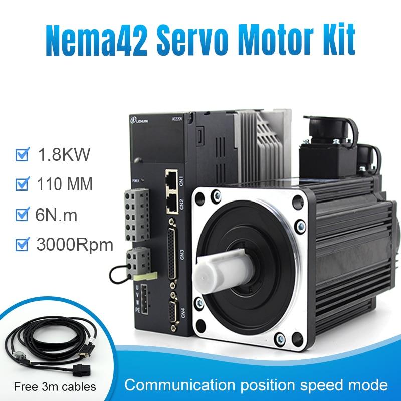100% оригинал Lichuan 110M06030 + A4 серводвигатель переменного тока серводвигатель с 1.8kw 3000 об/мин nema42 поддержка Modbus RJ45 для станков с ЧПУ