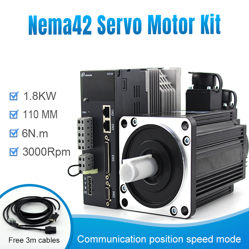 100% original  Lichuan 110M06030+A4 AC Servo motor servo driver with 1.8kw 3000rpm nema42 support Modbus RJ45 for cnc  machines