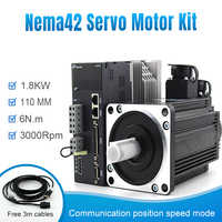 220v AC servo motor and drive for nema42 110mm frame 1.8KW 3000rpm 6n.m with cable kit