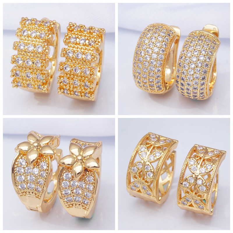 31 Styles Luxury Gold Hoops Cubic Zirconia Crystal Small Hoop Earrings for Women Indian Bridal Jewelry 2019