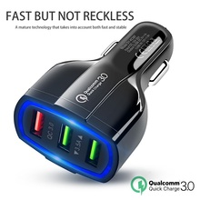 Portable 3 Port USB Car Charger a DC 5V 9V 12 V Quick Charging Triple Ports Auto Charger Adapter for Samsung Huawei Mobile Phone цена