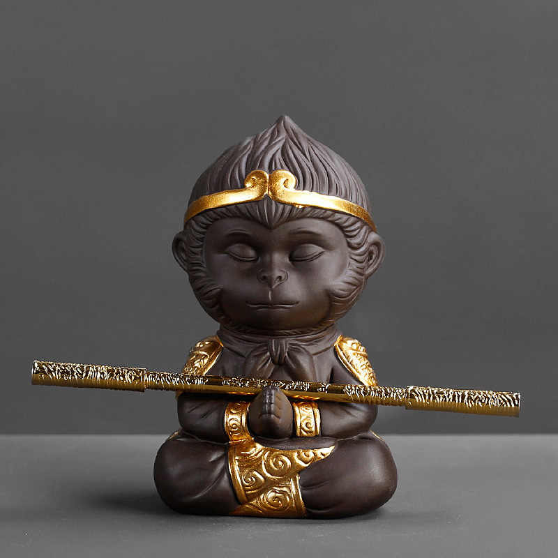 Chinese Paarse Klei Kung Fu Thee Set Monkey King Thee Huisdier Voor Thuis Decoratie Theeceremonie Paarse Klei Accessoires