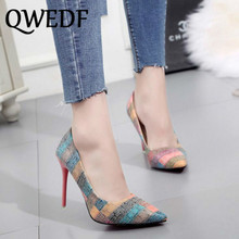 QWEDF brand Women Pumps High Heels Shoes Stiletto Pointed Toe Woman Sexy Party wedding for YA-61