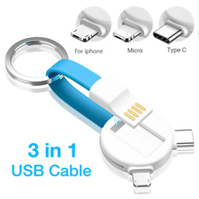 3 in 1 USB Cable Micro Type C Lighting For iPhone XR X Samsung HUAWEI 2A Mini Keychain Charger Charging Cables