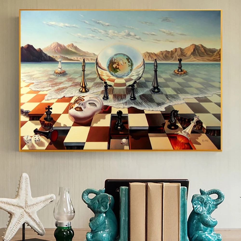 Salvador Dali Surrealism Chess Mask on Sea Canvas Paintings Abstract Posters and Prints Wall Pictures for Living Room Home Decor