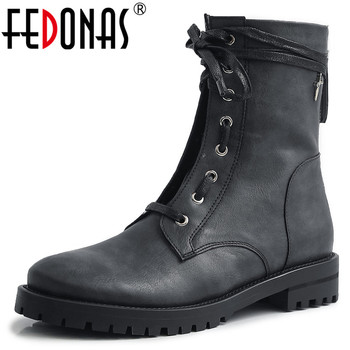 FEDONAS Female New Genuine Leather Motorcycle Boots Party Shoes Woman 2020 Winter Warm Women Ankle Boots Punk Zipper High Heels