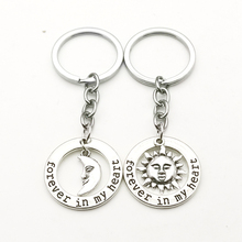 New Couple Keychain Sun Moon Forever In My Heart Pendant Keyring Fashion Charm Key chains Valentine Gift for Men Women Jewelry