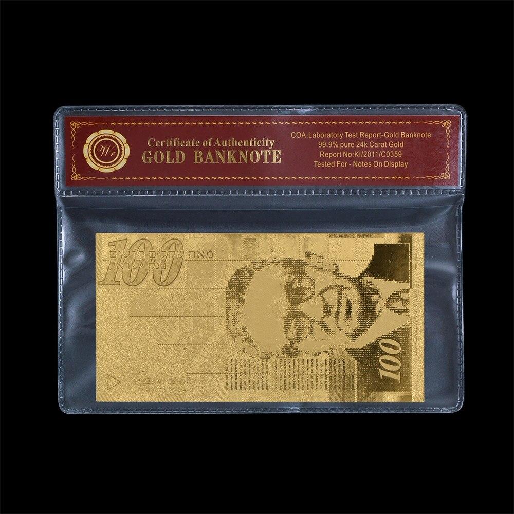 Billetes falsos WR Israel 100 Shekels billete de hoja de oro con marco Coa Banco notas Banco colección de billetes del mundo regalo