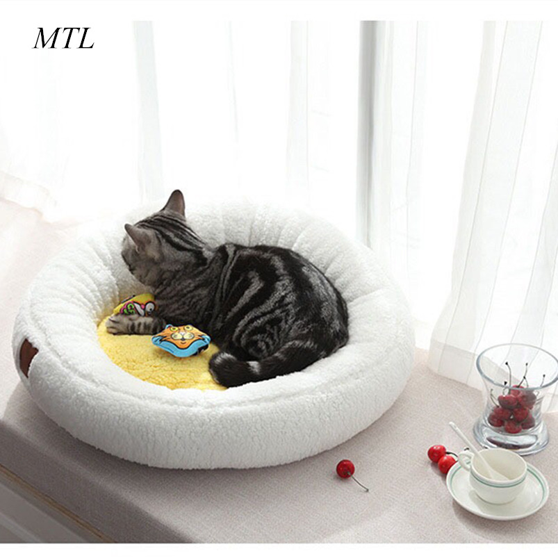 MTL winter warm soft fleece padded pet bed egg cat house small dogs home puppy