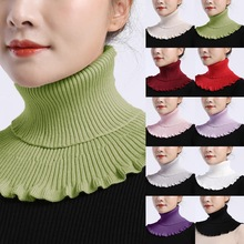 Queens Stylish Turtleneck Dickey Collar Turtleneck Ribbed Knitted False Fake Collar Winter Windproof Dickey Solid Color Ruffles Detachable Scarf