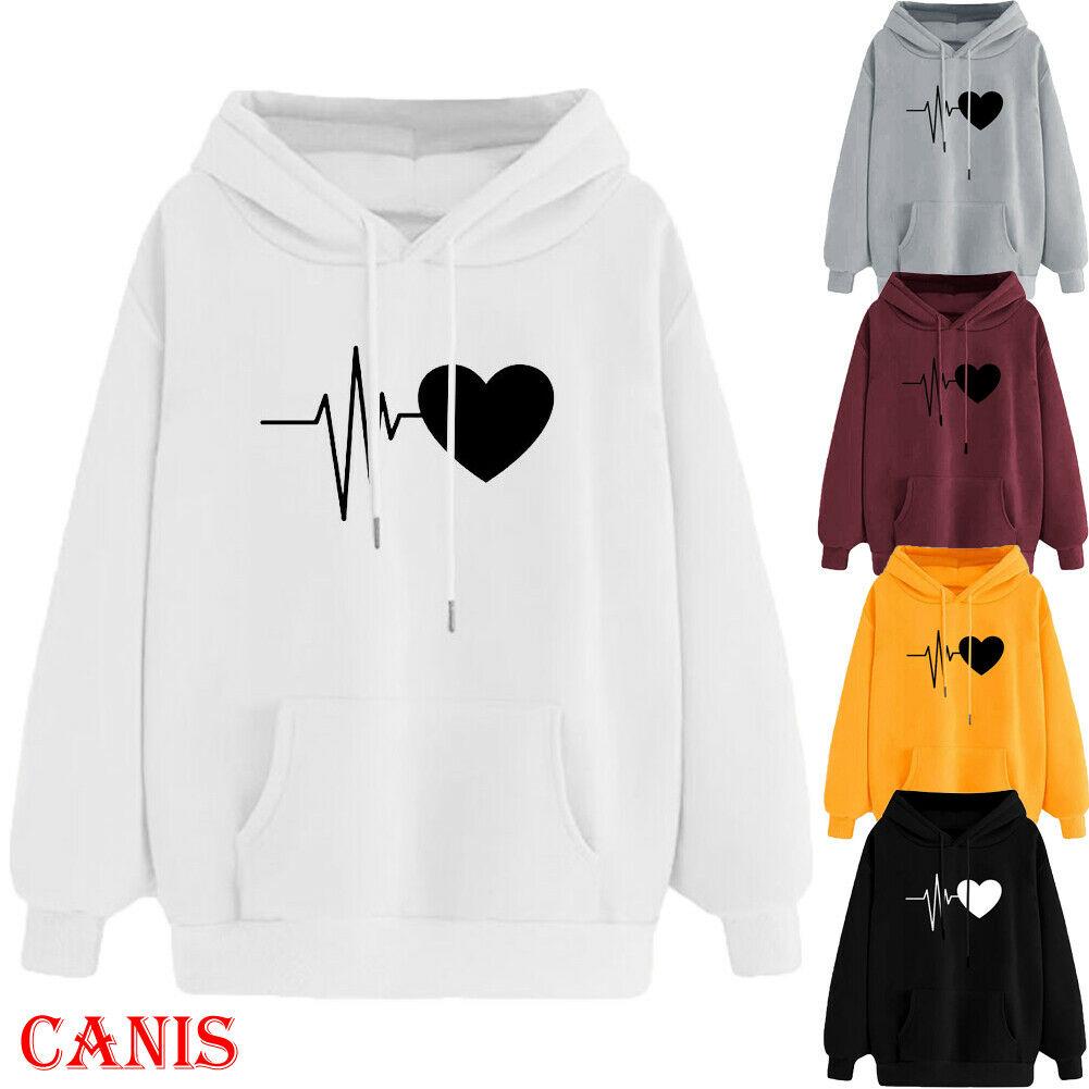 Plus Size Women's Long Sleeve Hoodies Sweatshirt Casual Hooded Jumper Pullover Tops Shirts ECG Print Top Outwear Sweatshirts 3XL