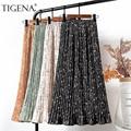 Женская плиссированная шифоновая юбка TIGENA, Повседневная Длинная юбка с высокой талией и цветочным принтом в Корейском стиле на подкладке д...