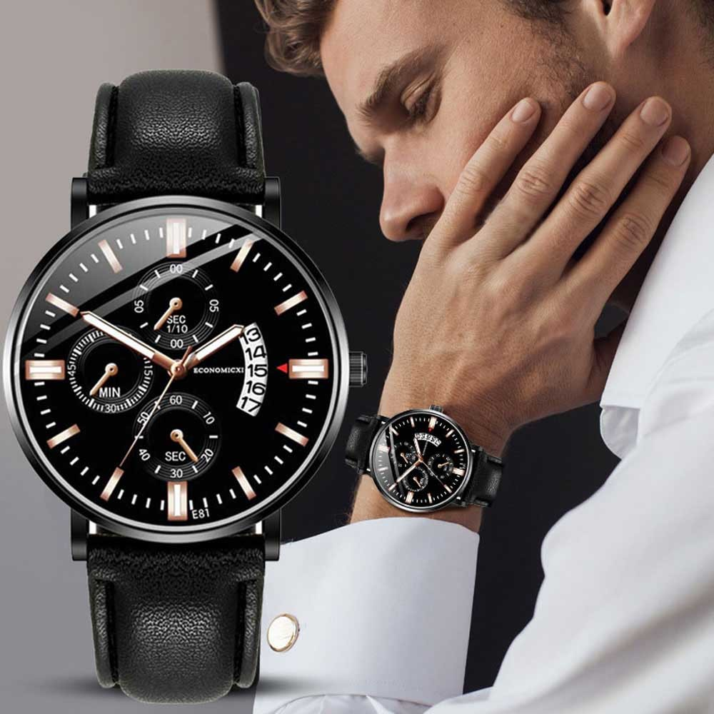 Men's Fashionable Three Eye Luminous Leather Strap Watch часы мужские наручные